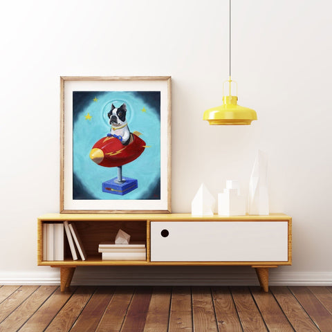 Boston Terrier gift, Boston Terrier in Space - Print from Oil Painting, Boston terrier wall art home decor, art print