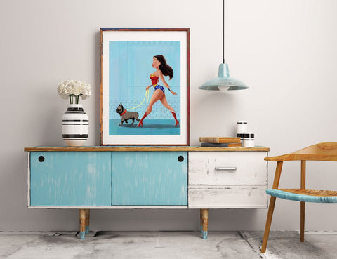 Wonder Woman walking a French Bulldog, french bulldog gift, french bulldog wall art print, wonder woman print, dog art decor