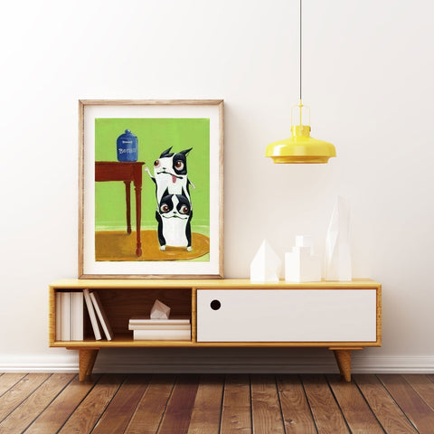 Boston terrier gift, Boston Terrier Bone Thieves,Dog Art Print, boston terrier decor, boston terrier art