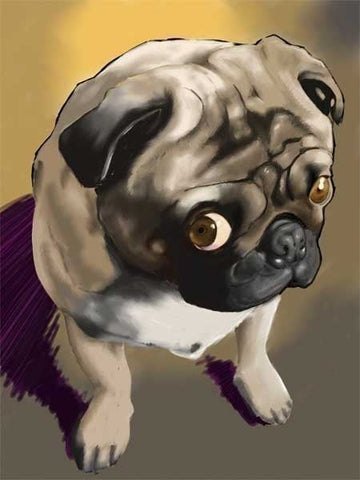 Pug gift, Pug art, pug print, pug wall decor, Cute Pug Dog Art Print