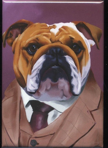 English Bulldog gift, English Bulldog Dressed cute dog art magnet, Bulldog art magnet