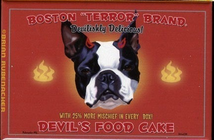 Boston Terrier Devil's Food Cake Magnet