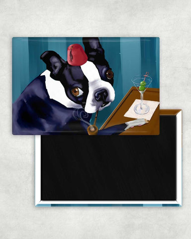 Boston terrier martini bar cute dog art magnet, Boston terrier gift, bar decor, boston terrier at the bar