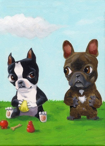 Boston terrier hoarding toys from a frenchie dog art magnet, french bulldog and boston terrier gift, boston terrier gift, kitchen decor