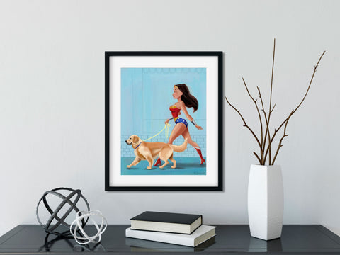 Golden Retriever gift, Wonder Woman walking a Golden Retriever, Golden Retriever wall art print, wonder woman print, dog art decor