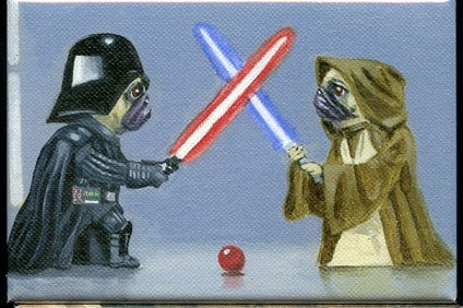 Pug Duel - Jedi Dog Art Magnet, pug gift, Star Wars gift, pug art, kitchen magnet, home decor