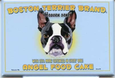 Boston Terrier Angel Food Dog Art Magnet, boston terrier gift, boston terrier art magnet, kitchen decor