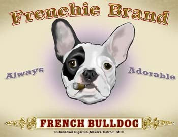 French bulldog cigar label dog art print