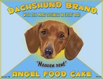 Dachshund gift /Dachschund art / kitchen decor / Dachshund print / Angel Food Cake label print