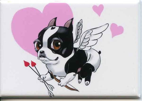 Boston terrier cherub dog art love magnet, boston terrier gift, boston terrier dog art magnet
