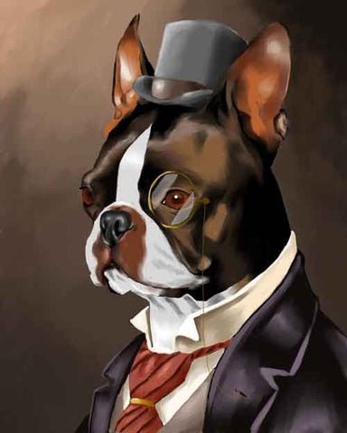 Boston Terrier gift wall art print, American Gentleman - Boston Terrier  Art Print non-smoking