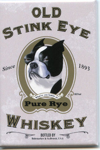 Boston terrier old stink eye whiskey label magnet, Boston terrier gift, boston terrier dog art