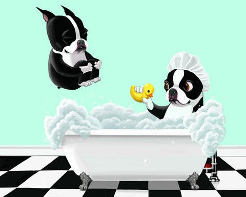 Boston terrier gift, Canvas art print Bath Time, Boston Terrier Dog Art, boston terrier wall decor, boston terrier decor on canvas