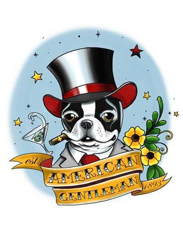 American Gentleman Tattoo - Boston Terrier Dog Art, Flash art, boston terrier gift, tattoo art, tattoo flash art gift