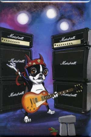 Boston Terrier Playing Les Paul Guitar - Dog Art Magnet