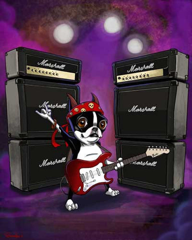 The Rock Star - Boston Terrier with Fender Guitar Art Print