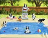 Boston Terrier Pool Party art print wall decor