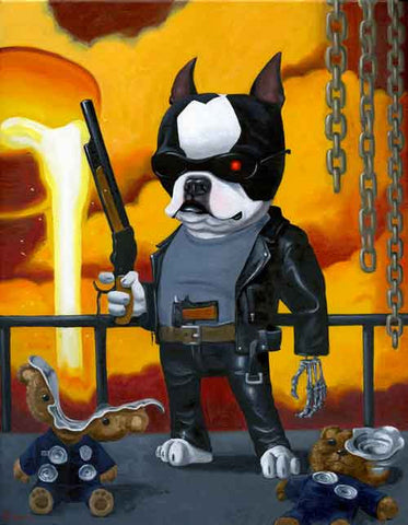 Boston terrier gift, Boston Terrier Terminator art print, boston terrier wall art print, dog art, boston terrier artwork