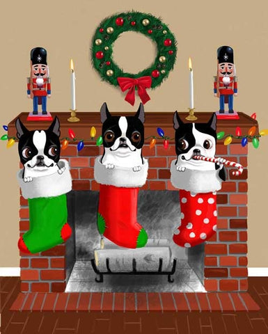 Boston terrier gift, boston terrier art, Boston Terrier Christmas Stockings, wall decor, home decor, christmas art decor