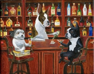 Boston Terrier, Great Dane and Shih Tzu at the bar dog art print, Boston Terrier gift, Great Dane gift