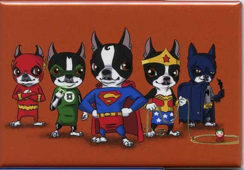 Boston terrier gift, Boston Terrier dog art justice league Hero magnet, boston terrier super hero art