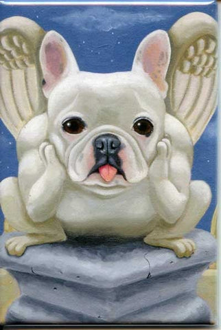 French bulldog gift, frenchie gargoyle french bulldog dog art magnet, french bulldog fridge magnet