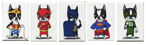 Boston terrier gift, Boston Terrier Justice League Magnet Set, Boston Terrier gift, Boston Terrier magnets, justice league magnet