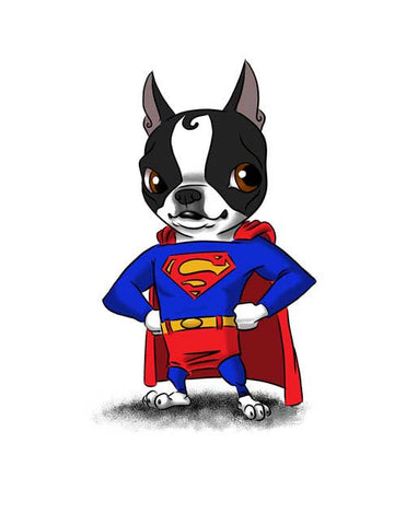 Boston terrier gift, boston terrier wall art print, Superman - Boston Terrier Print, dog art, boston terrier art