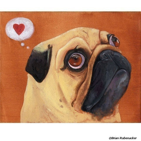 Pug gift, pug dog art, Pug Heart print, pug home and wall decor, I love pugs, Pug wall art