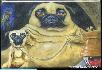 Pug jabba the Hutt dog art magnet, Pug gift, pug star wars art, pug art, star wars art, dog art, pug magnet