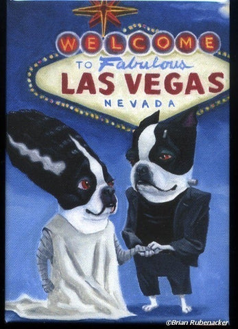 Boston Terrier Frankenstein and Bride Getting Hitched in Vegas magnet