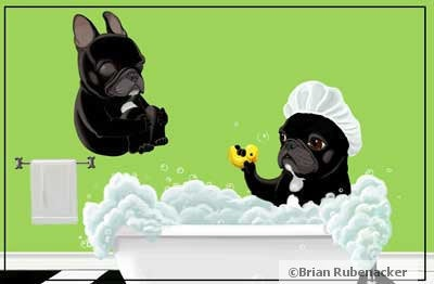 French bulldog gift,French Bulldog Bath Tub Dog Art Magnet, frenchie art, French bulldog art