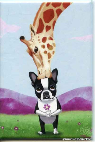 Boston Terrier gift, Boston Terrier giraffe Dog Art Magnet, dog art, Boston Terrier magnet