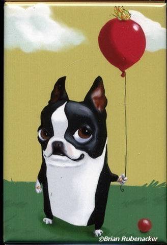 Boston Terrier Holding a Red Balloon Dog Art magnet, boston terrier gift, boston terrier art