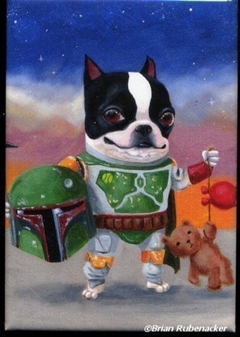 Boston Terrier Boba Terrier Magnet, Boston terrier gift, Boston terrier art magnet, star wars gift boba Fett