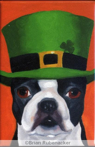 Boston Terrier gift, Irish Hat Cute Dog Art Magnet, boston terrier art , boston terrier decor, fridge magnet