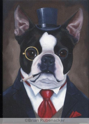 Boston Terrier American Gentleman dog art magnet, boston terrier gift, dog art gift, boston terrier decor