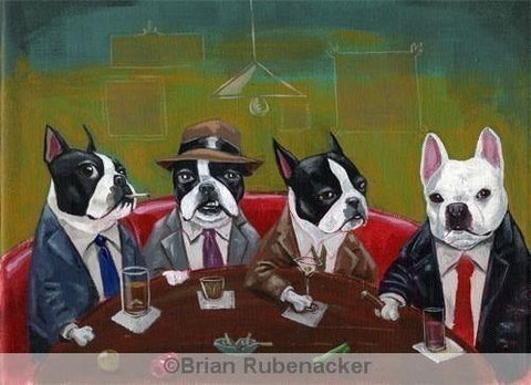 Three Boston Terriers and a French Bulldog  print by Brian Rubenacker, Boston terrier gift, French bulldog gift, Boston Terrier art, wall