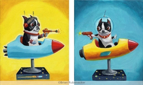 Space Rangers SET- Boston Terrier Print from oil painting, Boston terrier gift, Boston terrier wall decor