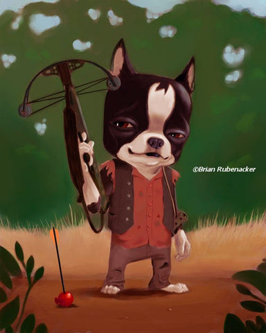 Boston terrier gift wall art, Zombie Hunter Boston Terrier, boston terrier home decor, boston terrier art print