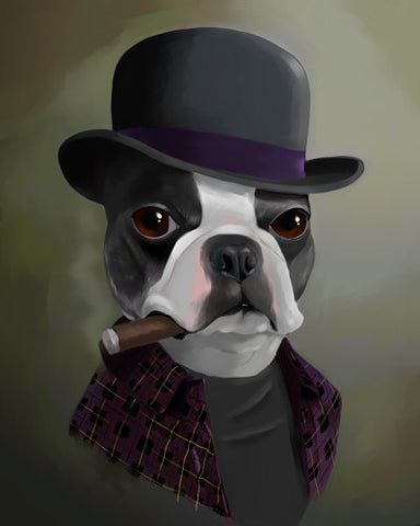 Boston Terrier gift / The Bowler Hat - Boston Terrier Art / Print by Brian Rubenacker