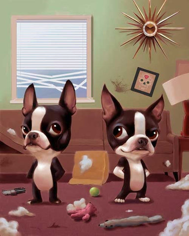 Mid Century Boston Terriers making a mess, boston terrier gift, boston terrier home decor wall art print