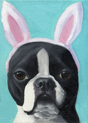 Boston terrier gift,Boston Terrier Easter bunny, dog art bunny ears, Boston Terrier wall home decor, boston terrier wall art print