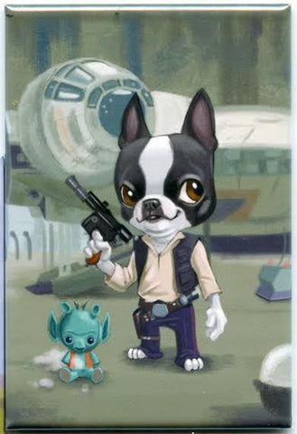 Han Solo Boston Terrier Dog aArt Magnet