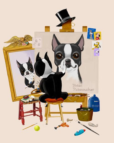 Boston Terrier Triple Self Portrait, Boston terrier gift, boston terrier artist, boston terrier art, boston terrier wall art decor