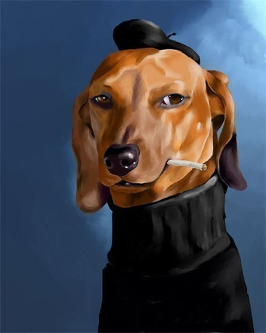 Canvas Dachshund Cool Cat, Dachshund gift, Dachshund art canvas, Dachshund art decor