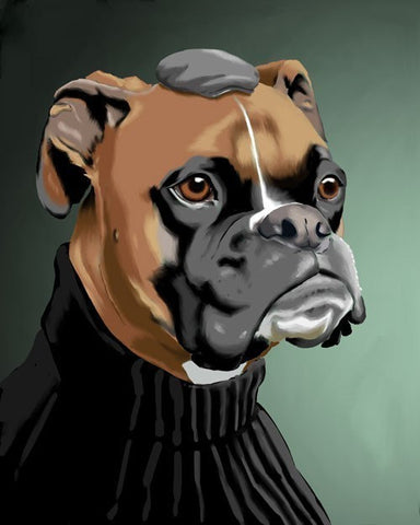 Boxer gift, Canvas Dressed Boxer wall art, boxer wall art print, boxer dog gift