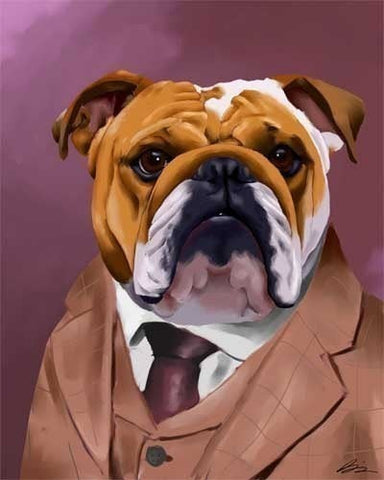 Canvas English Bulldog Dressed for a Night Out