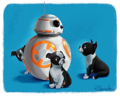 Boston terrier gift, Boston Terrier star wars BB-8 - Boston Terrier puppy dog art print, star wars gift, Boston terrier wall decor