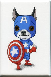 Boston terrier art, magnet, Captain America avengers - Boston Terrier magnet